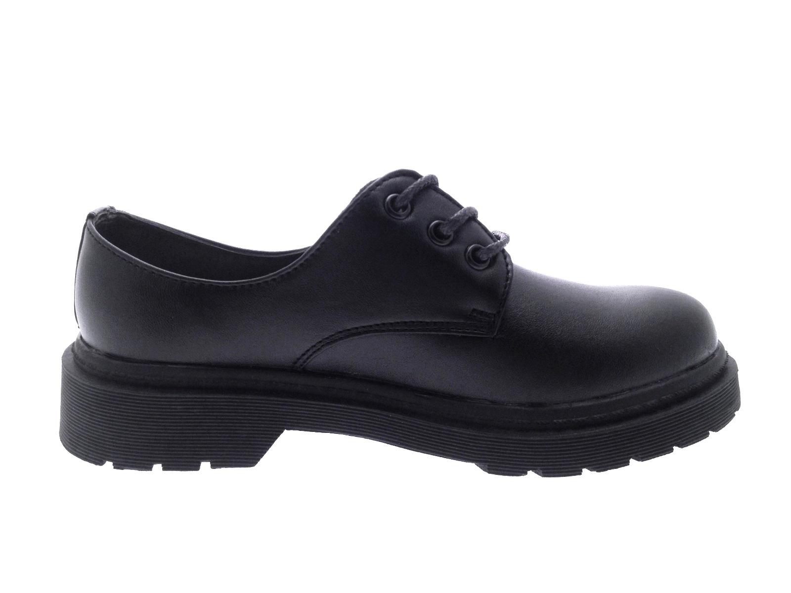 Niños CHICOS Negro Imitación Cuero Zapatos Escolares lazada Velcro formadores tamaño del Reino Unido 4-12