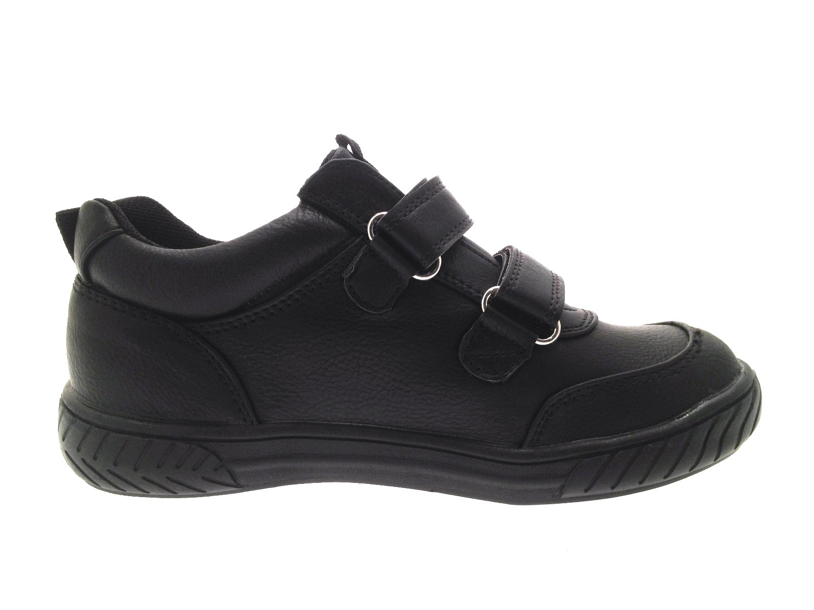 Kids Boys Black Faux Leather School Shoes Lace Up Sports Trainers Size UK 4-12