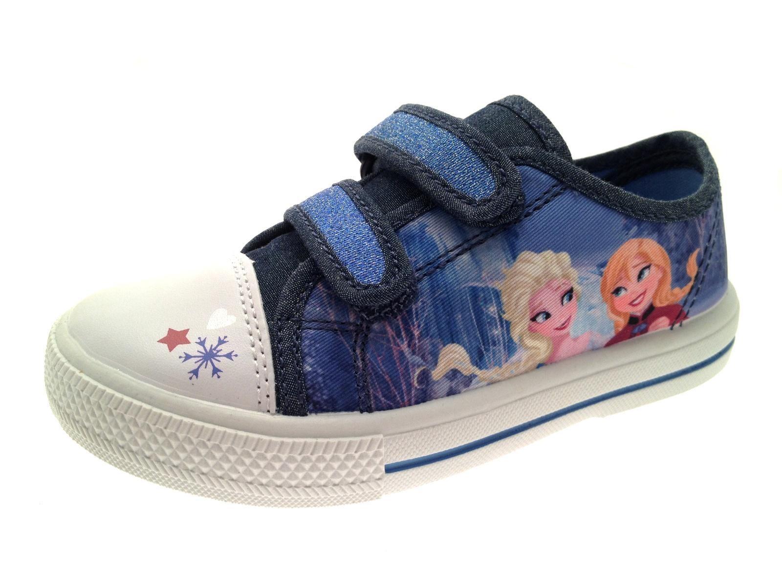 Disney Frozen Canvas Pumps Anna Elsa Flat Shoes Trainers Childrens Size 6-12