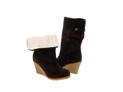 WOMENS FUR WEDGE SHEARLING CALF BOOTS LADIES SHOES 3-8