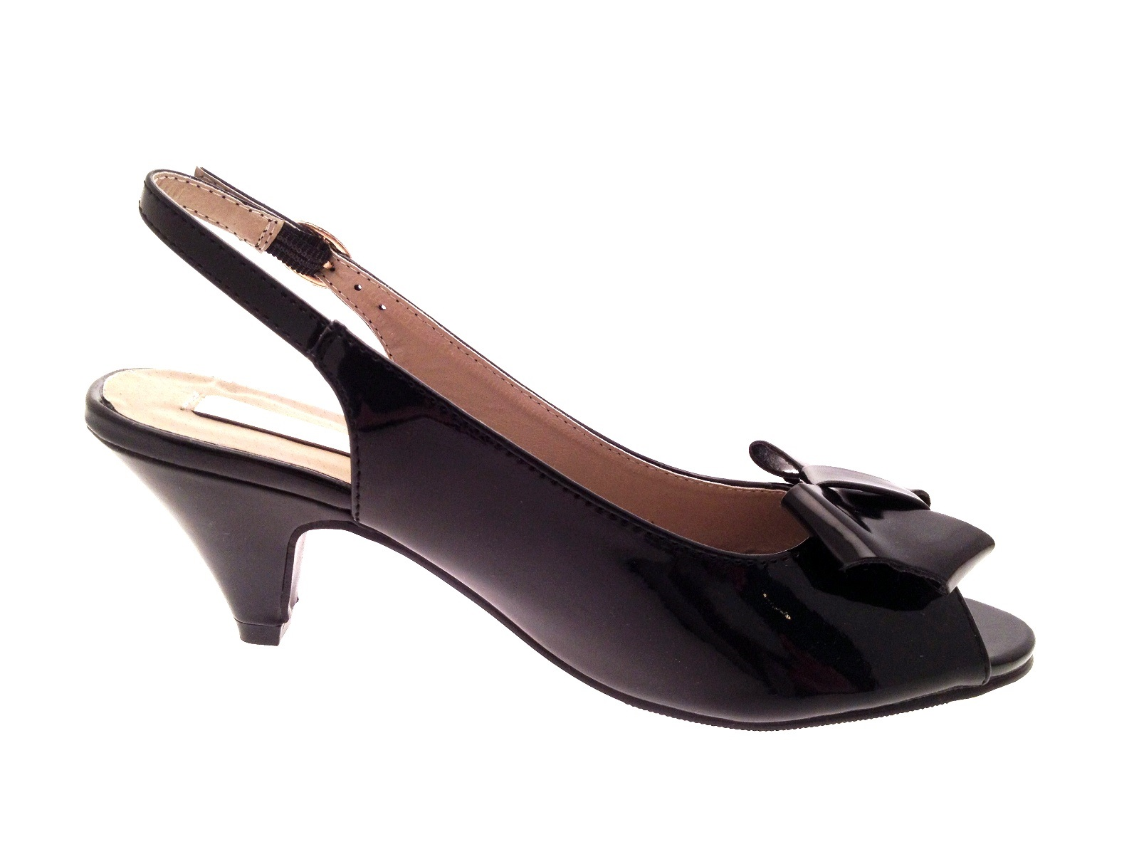 Black party sandals - Womens Patent Sling Back Comfort Sandals Party Shoes Wide Fit Low Heel Size 3 8