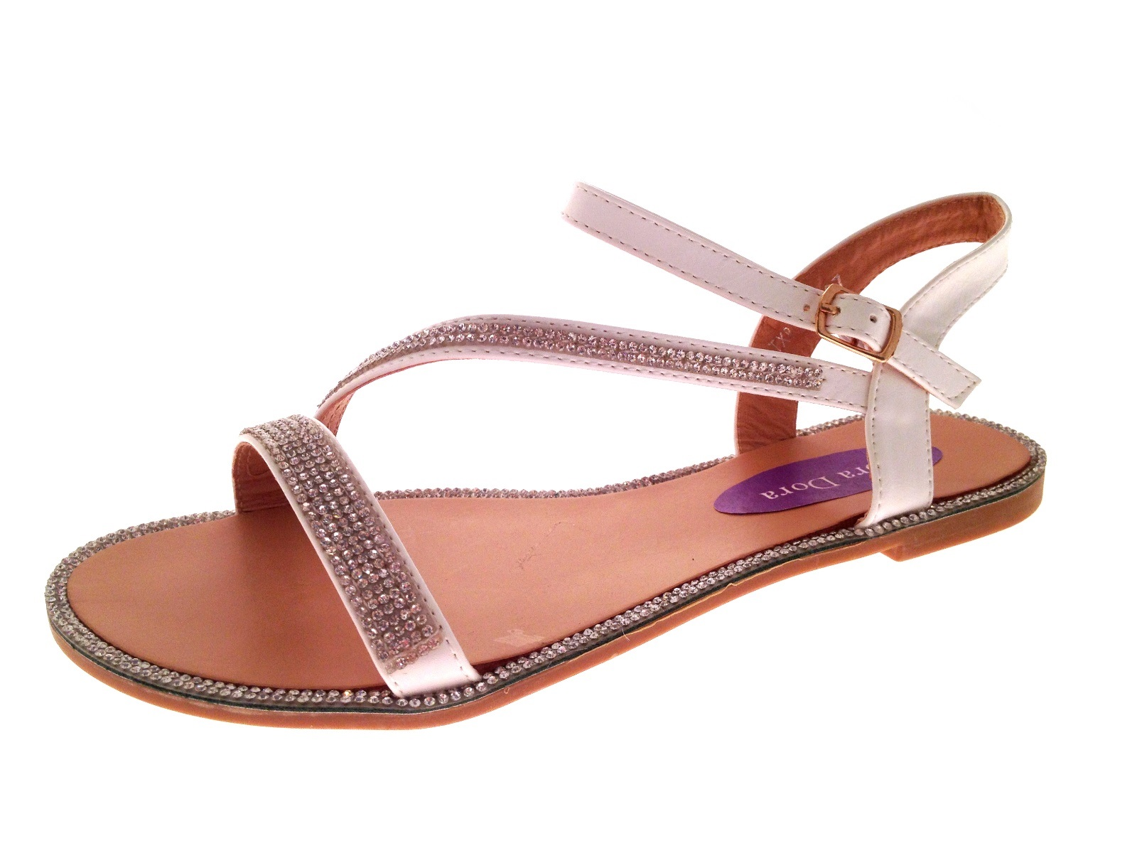 Womens Flat Diamante Summer Sandals Strappy Evening Shoes ...