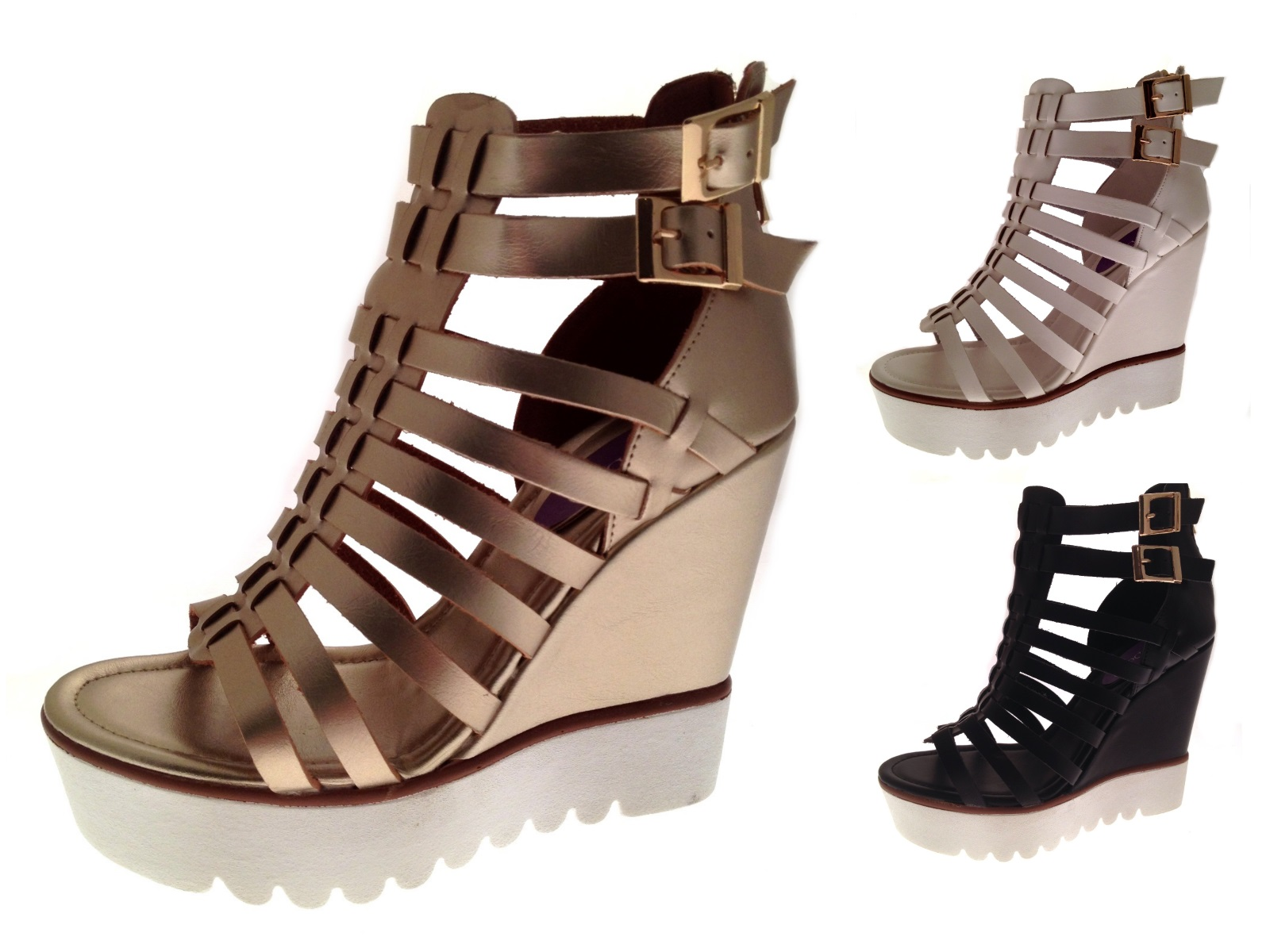 Womens Strappy Wedges Cut Out Gladiator Sandals Chunky Platforms ...