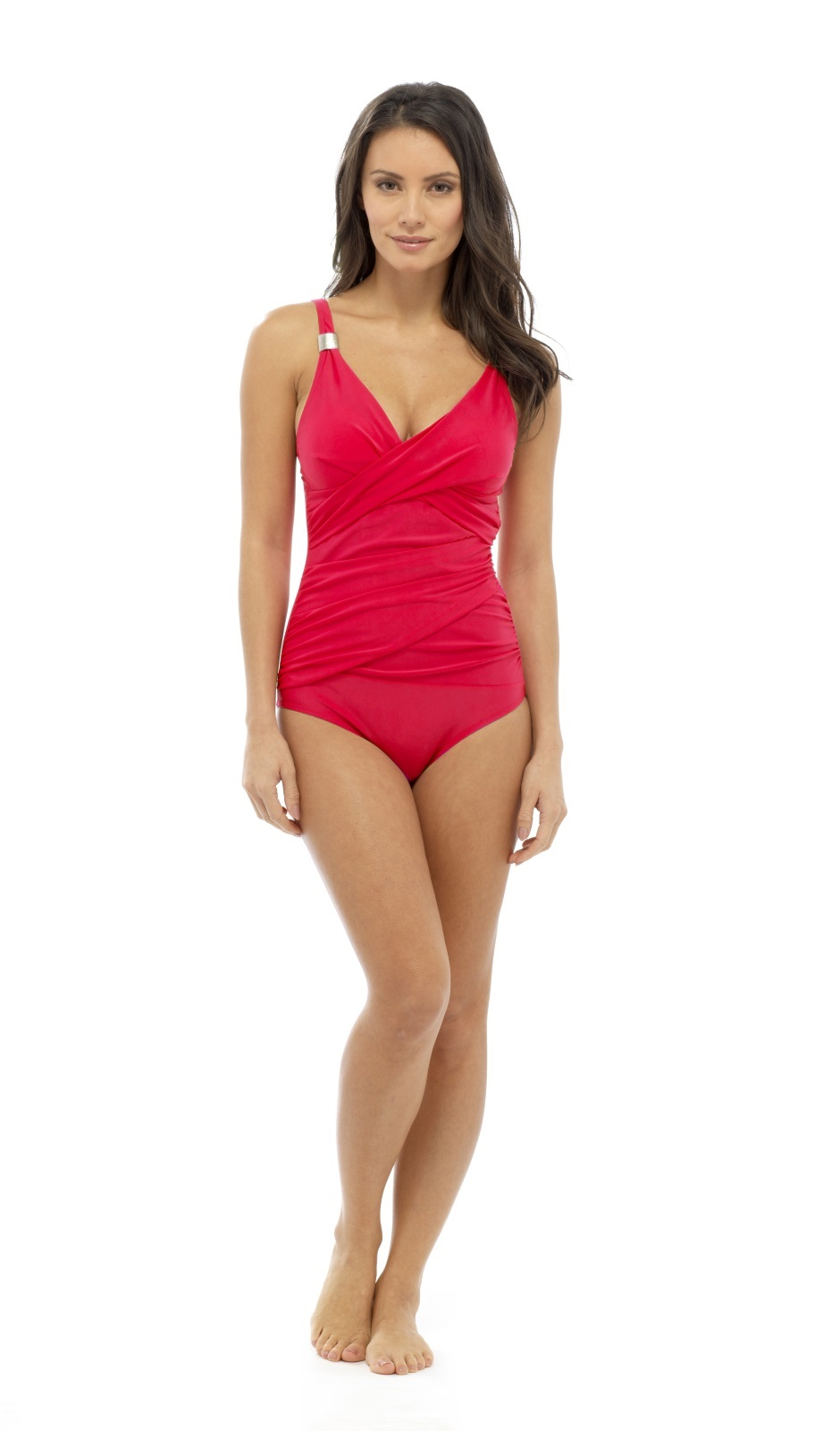 Red Swimming Costume Female Curly Red Hair Off Face Wearing Red