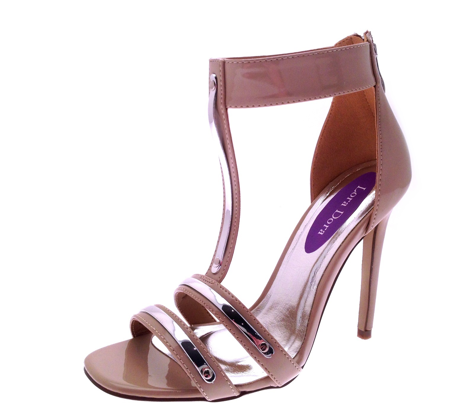 Womens Metallic T Bar / Strappy Lace Up High Heels Stiletto ...
