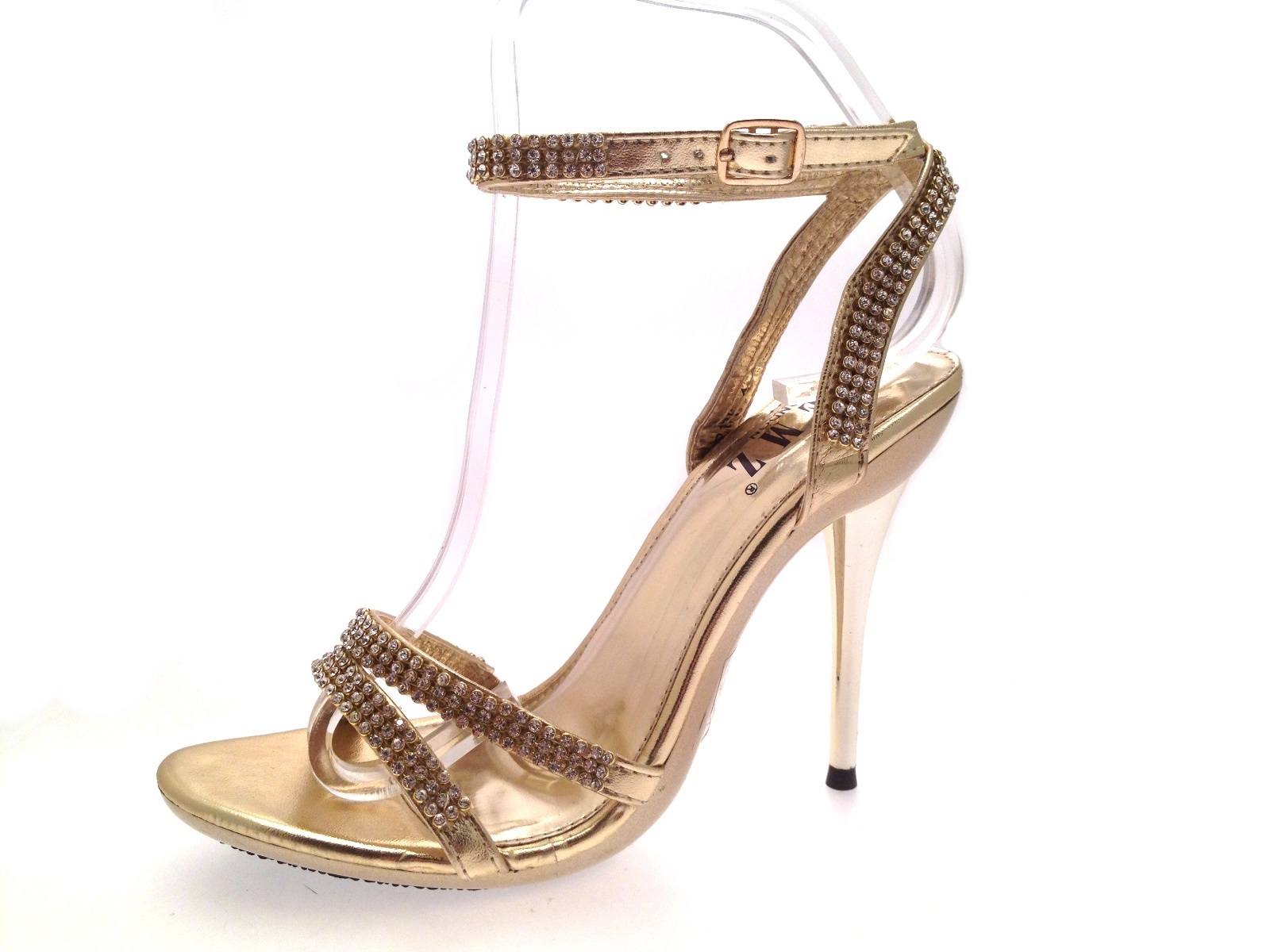 Womens Diamante Bridal Wedding Shoes Mirrored Strappy High