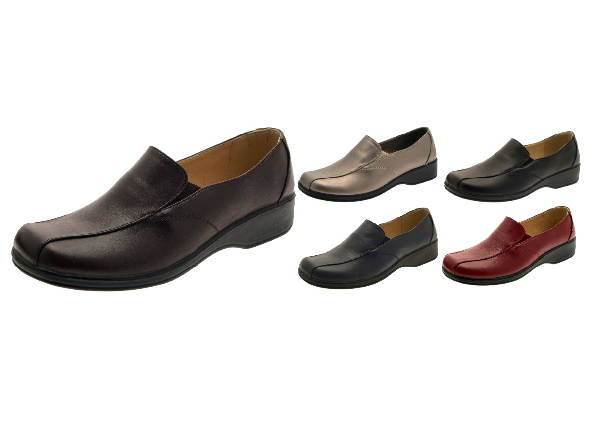 Womens Low Heel Comfort Flexi Work Shoes Ladies Cushioned Loafers Size UK 3-8