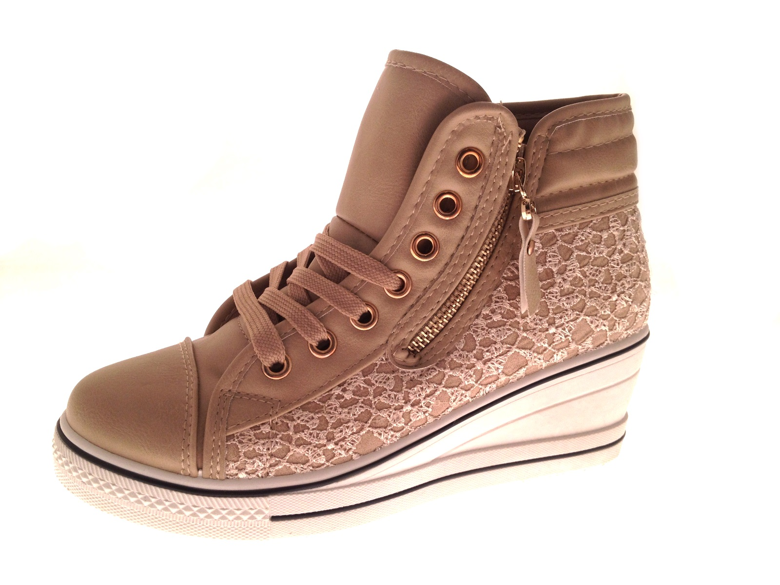 womens wedge hi top trainers boots lace up canvas