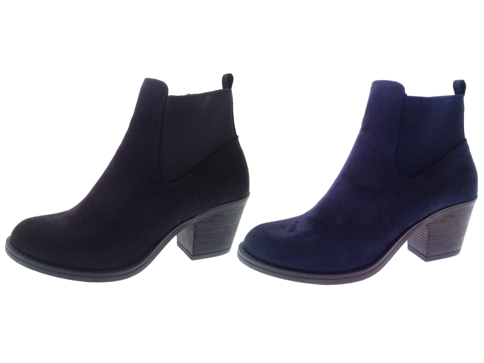 Womens Chunky Block Heel Chelsea Ankle Boots Faux Suede Shoes ...