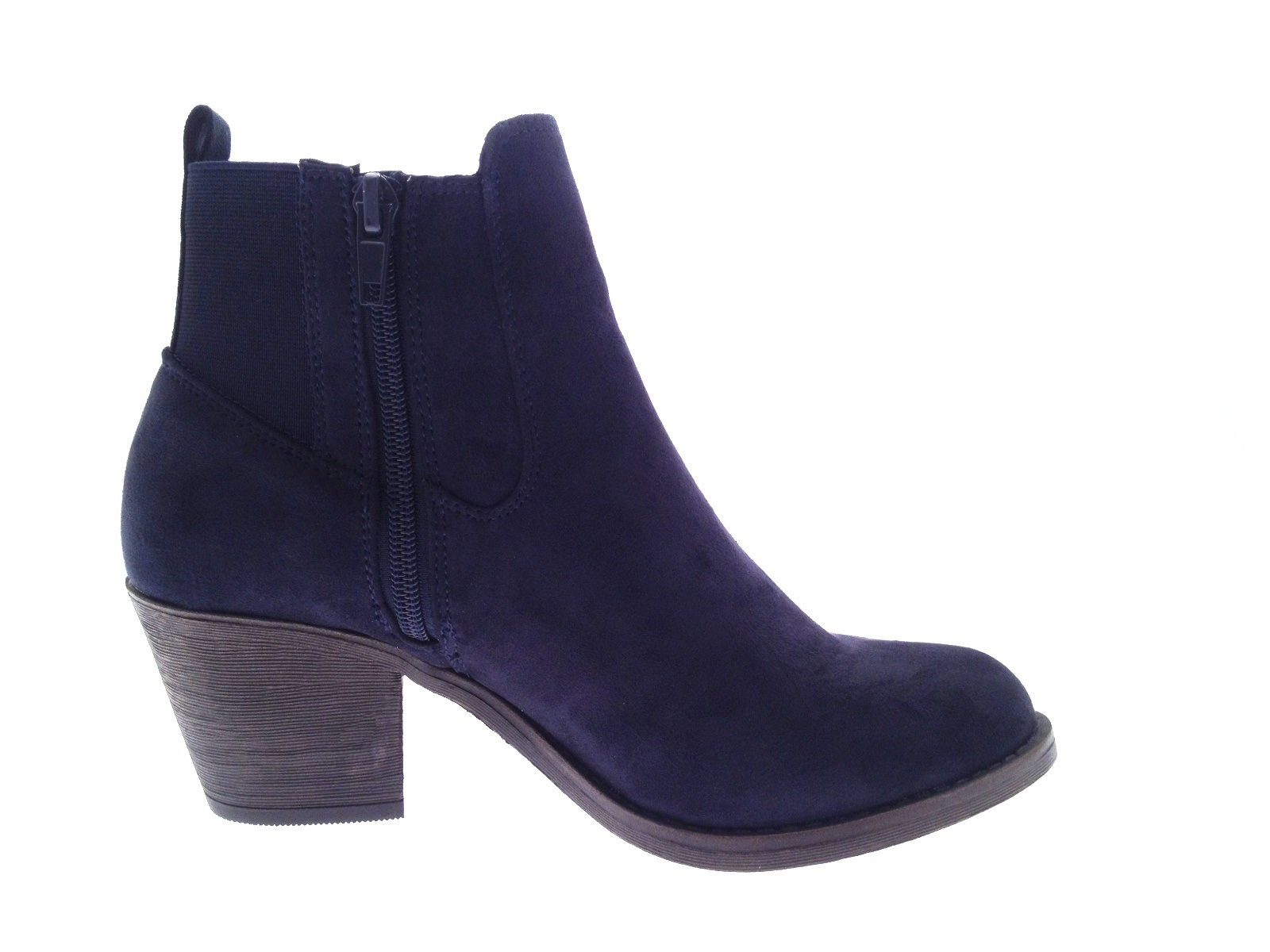 Lastest Womens Chunky Block Heel Chelsea Ankle Boots Faux Suede Shoes Girls Size UK 4-8 | EBay