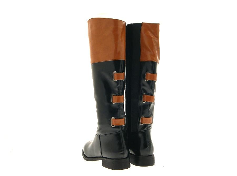 Innovative WOMENS TAN TOP TWO TONE RIDING BOOTS KNEE HIGH FLAT LADIES BLACK SIZE