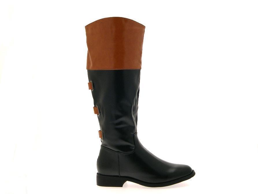 womens knee high biker boots two tone black