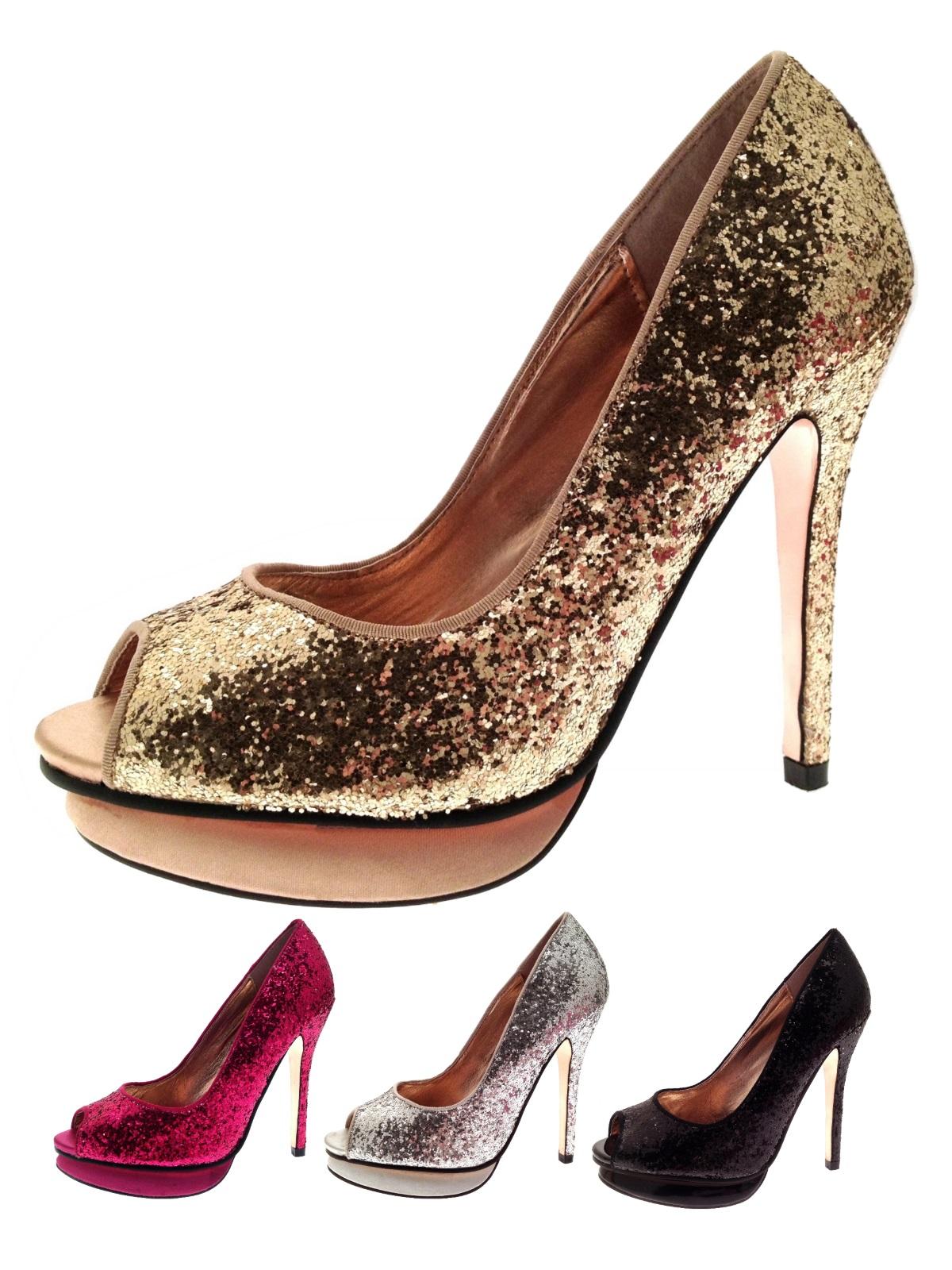 Para mujer Peep Toe Taco Alto Brillo Stiletto plataformas Tribunal Zapatos Talla Uk 3 - 8
