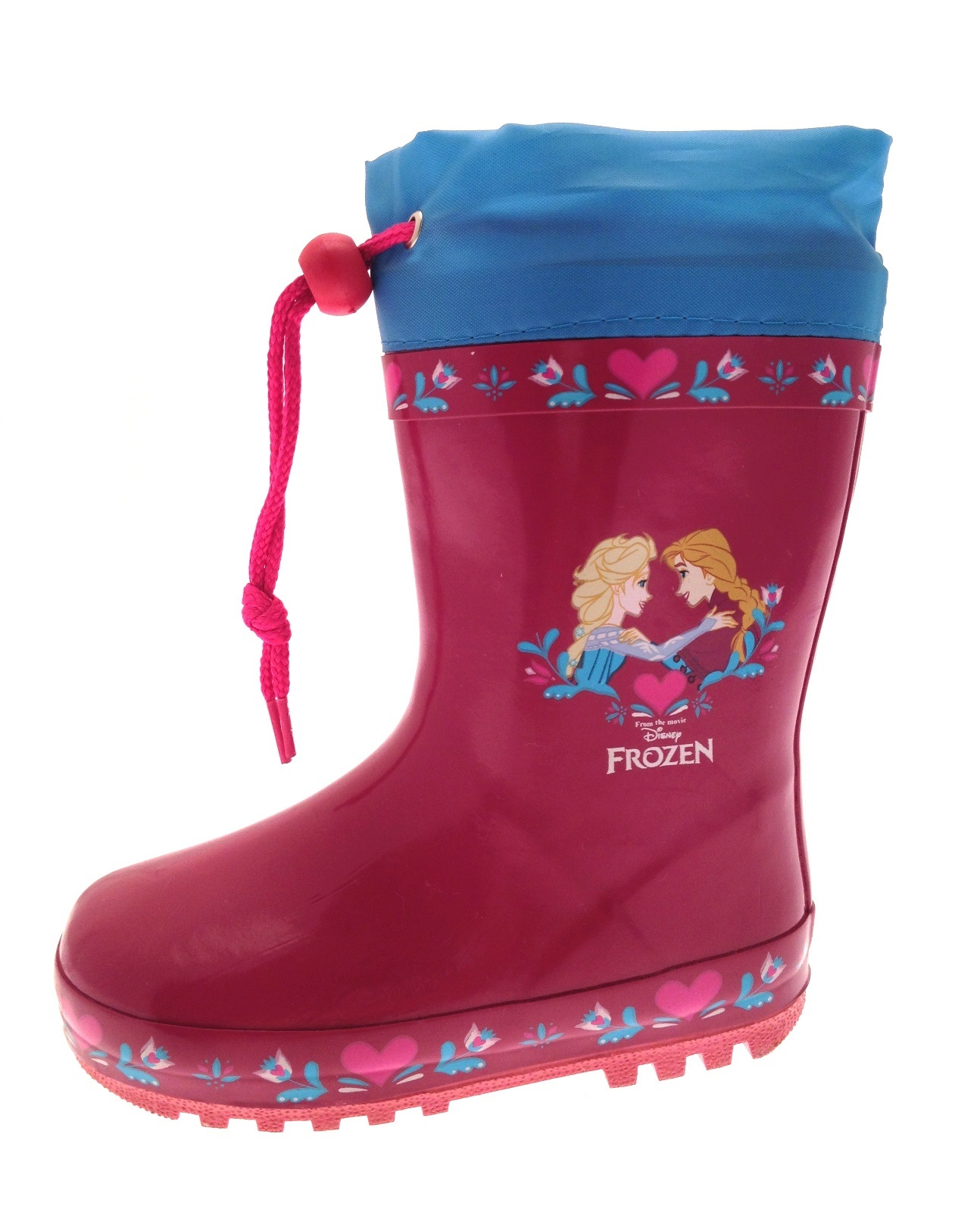 Girls Disney Frozen Rubber Snow Boots Tie Top Wellingtons Wellies ...