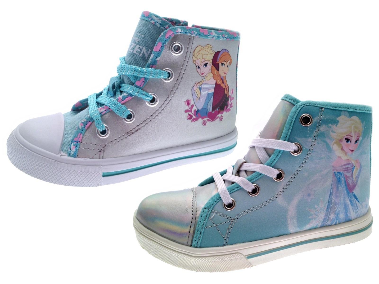Kids Girls Disney Frozen Lace Up Hi Tops Boots Pumps