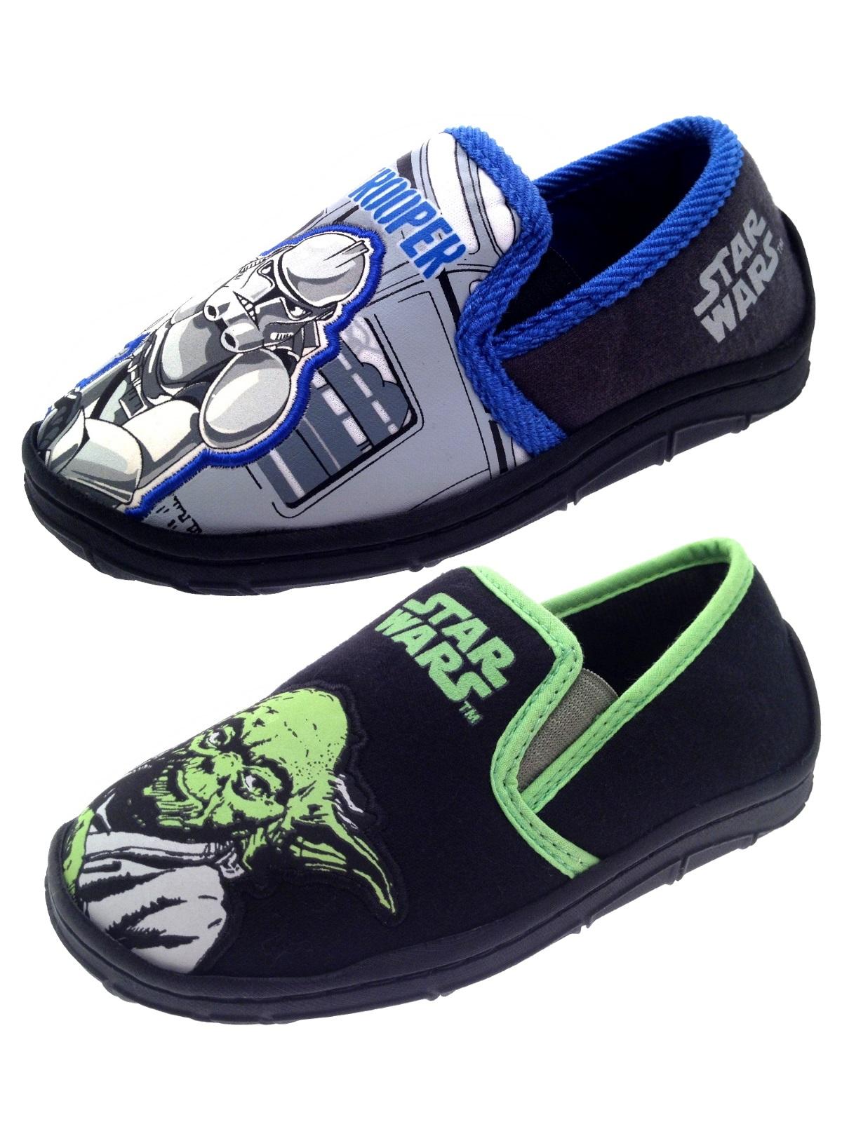 kids boys disney star wars slippers slip on novelty character shoes size uk 7 1. Black Bedroom Furniture Sets. Home Design Ideas