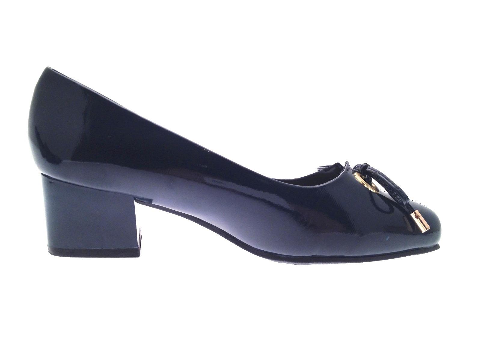 womens patent low block heels wide fit comfort court shoes