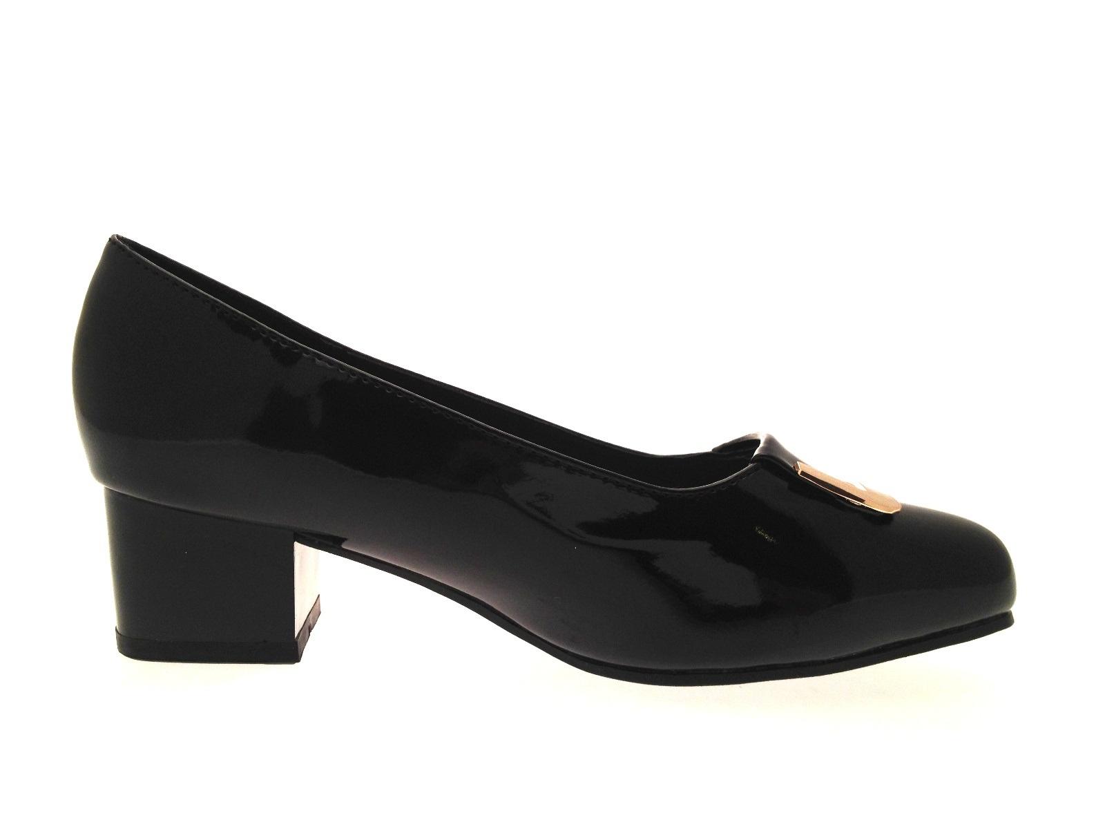 Womens Patent Low Block Heels Wide Fit Comfort