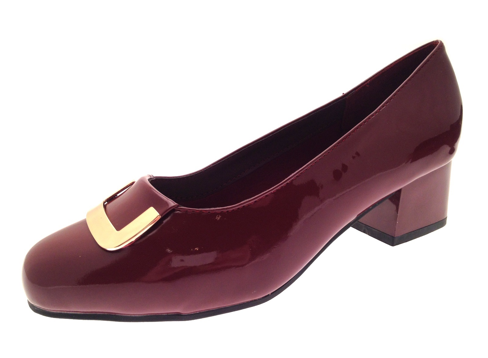 Burgundy Heel Shoes Wide Fit