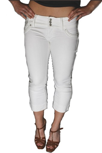 Womens 3/4 White Denim Slim Skinny Cropped Jeans Capri Pants ...