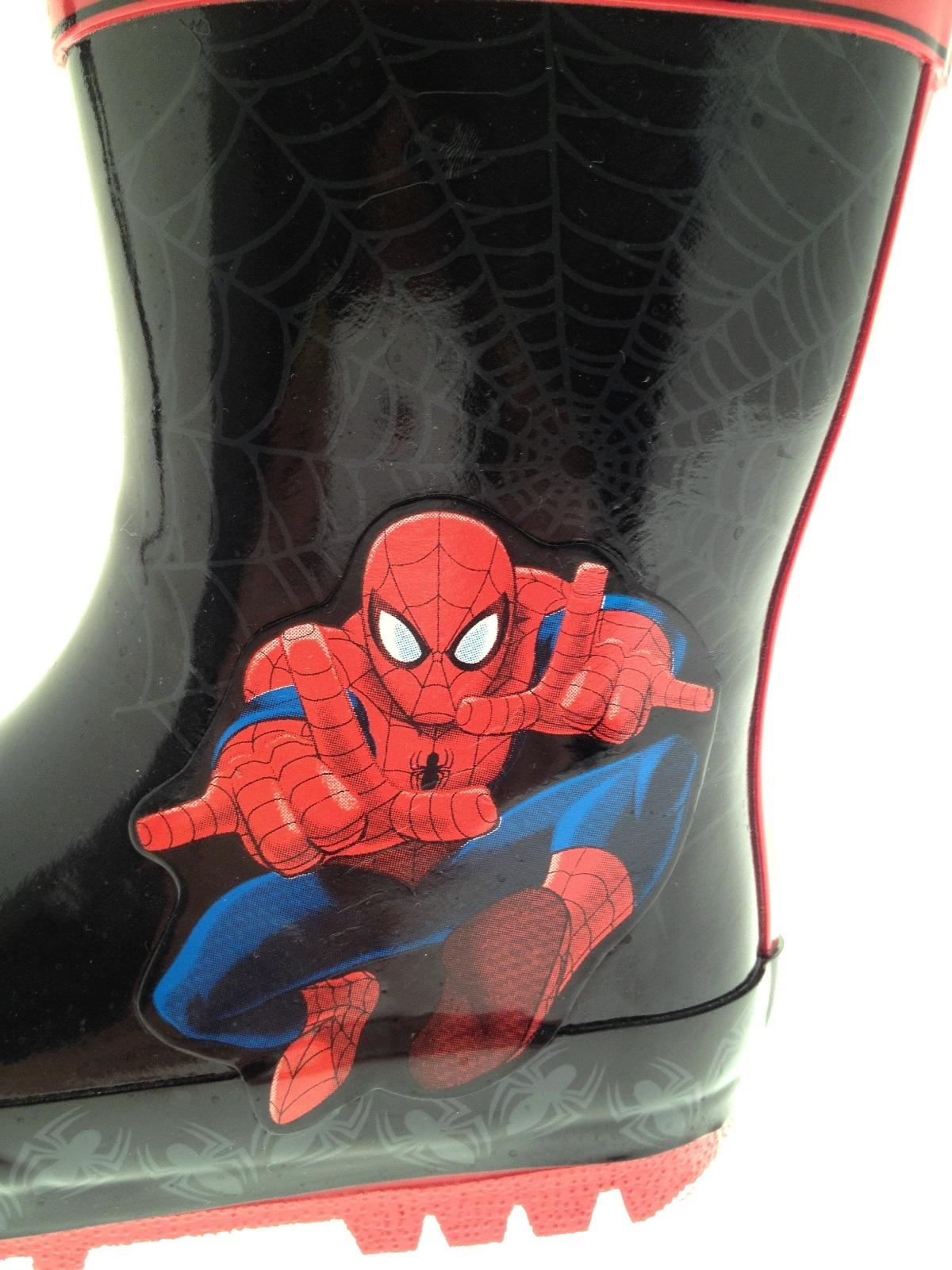 Spiderman Childrens Wellington Boots Spider Man Boys Waterproof Wellies Size 7-1