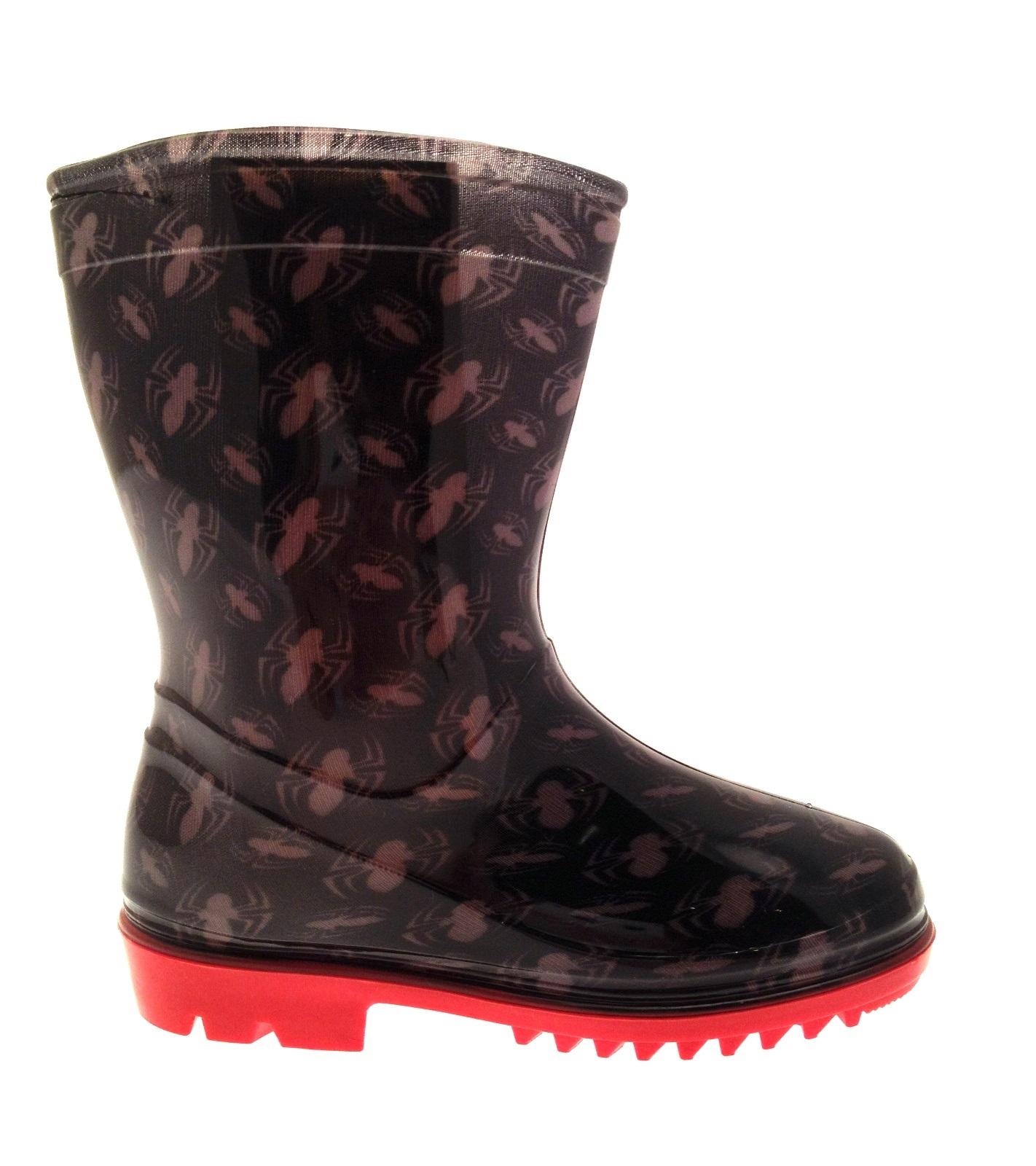 Boys marvel spiderman snow winter boots wellies wellingtons black size