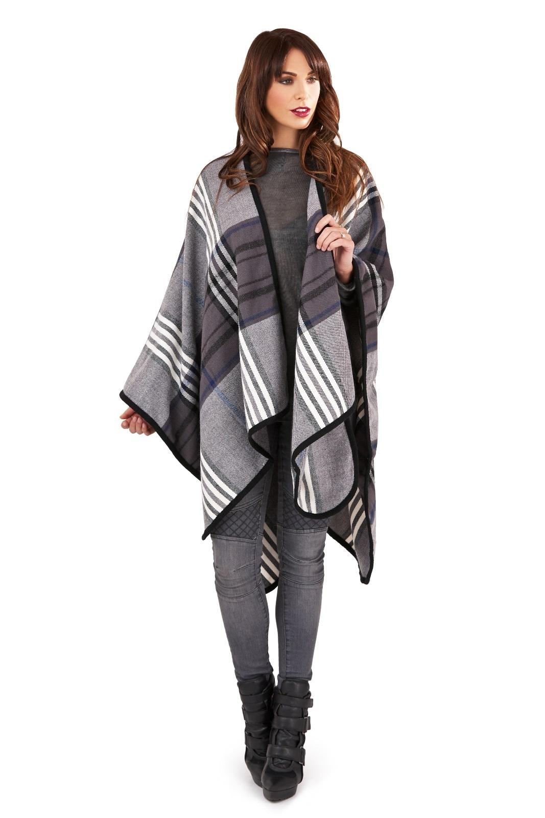Womens Warm Winter Poncho Wrap Knitted Shawl Throw Cape