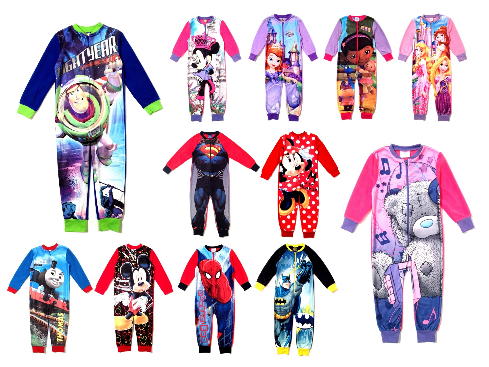 aa5db216df7d Kids Boys Girls Fleece Character Onesie Pyjamas Childrens Pj s Size ...