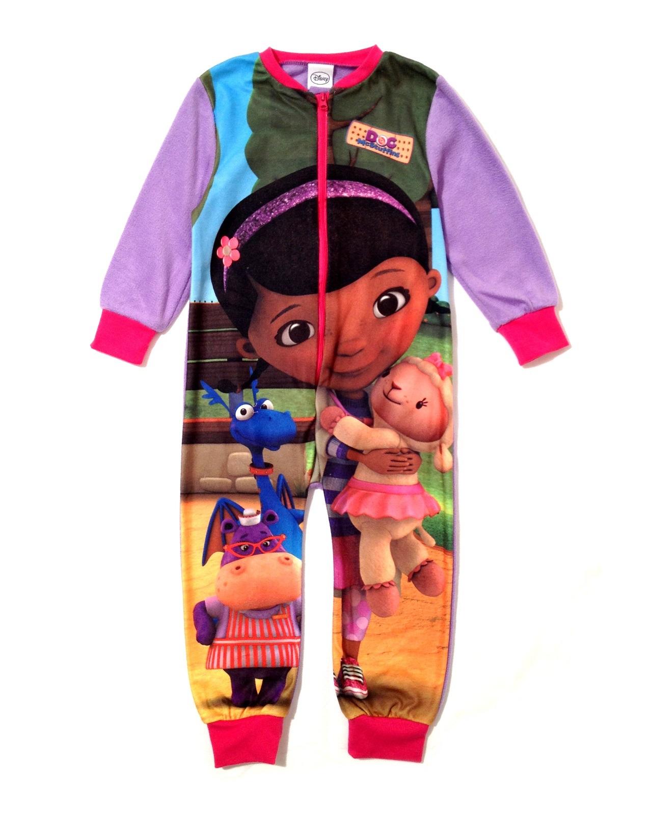 Kids Boys Girls Fleece Character All In One Pyjama Childrens Pjs  Size 1-8 Years