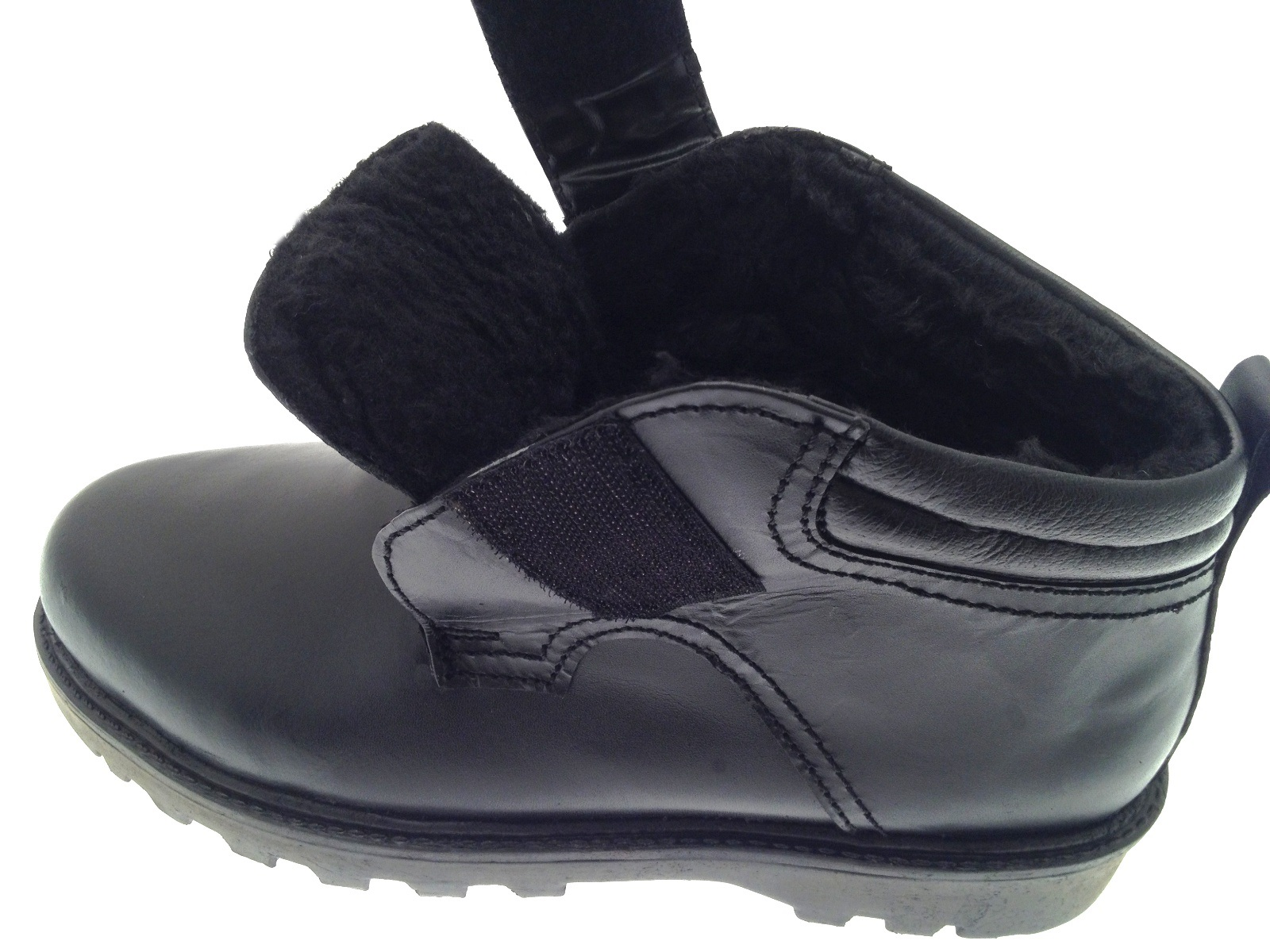 mens genuine leather fleece lined ankle boots snow winter