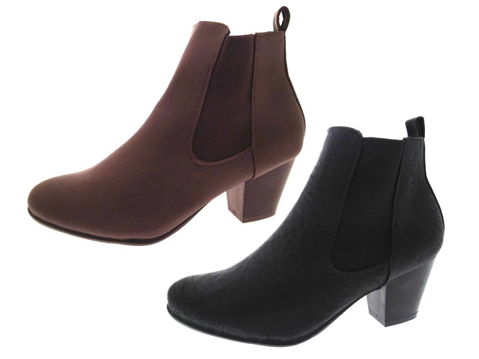 Womens Chunky Block Heel Chelsea Ankle Boots Wide Fitting Comfort Shoes Size