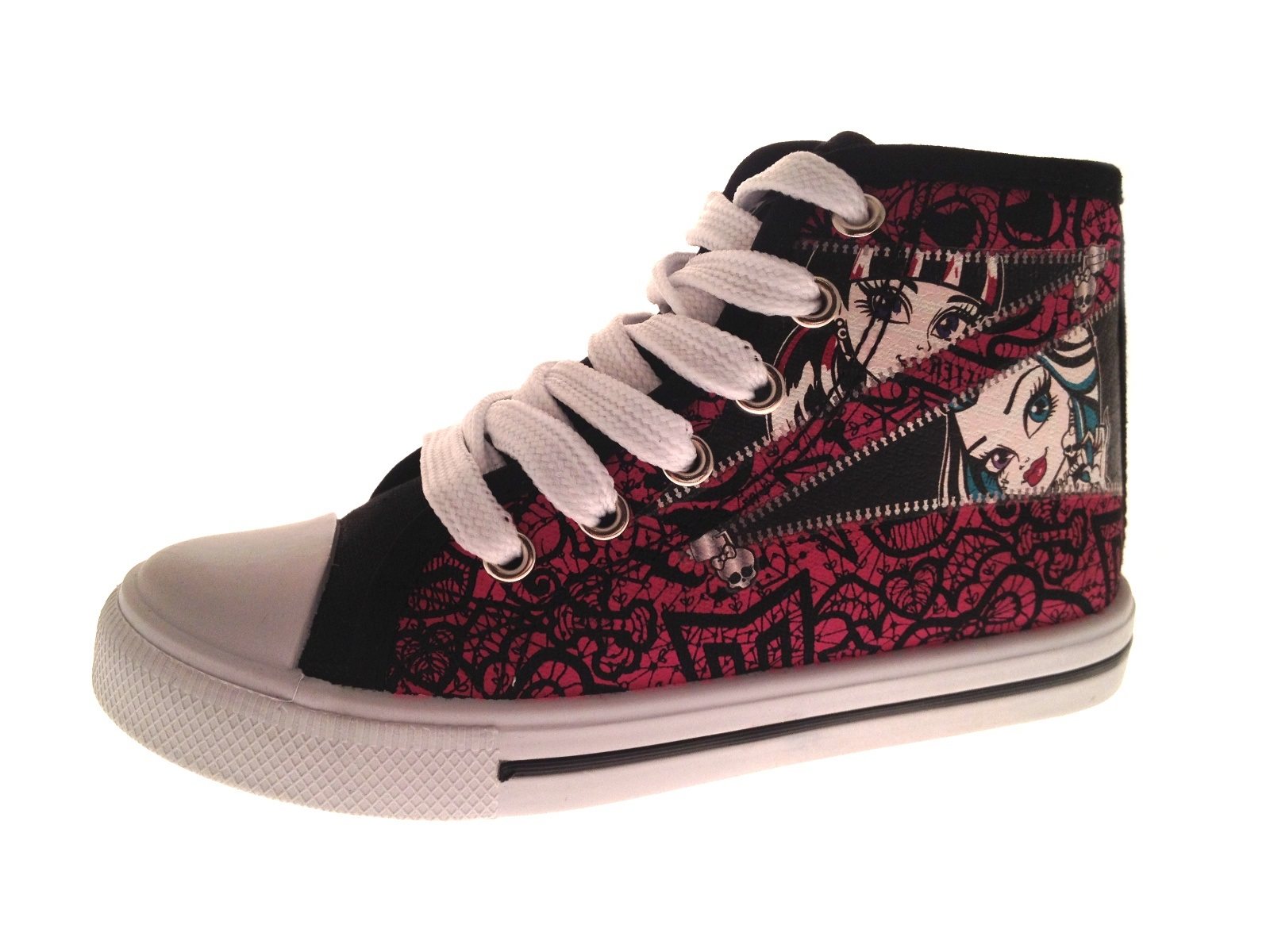 Kids Girls Monster High Canvas Pumps Lace Up Hi Tops Boots ...