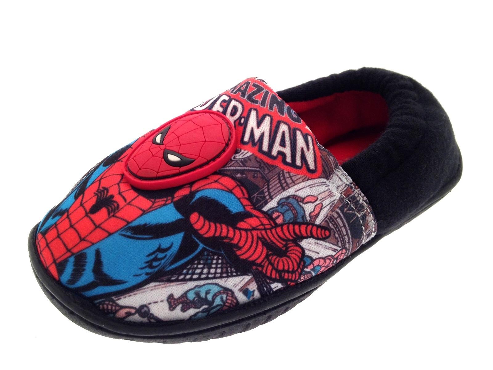 Marvel Ultimate Spiderman Slippers Kids Boys Childrens Velcro Shoes