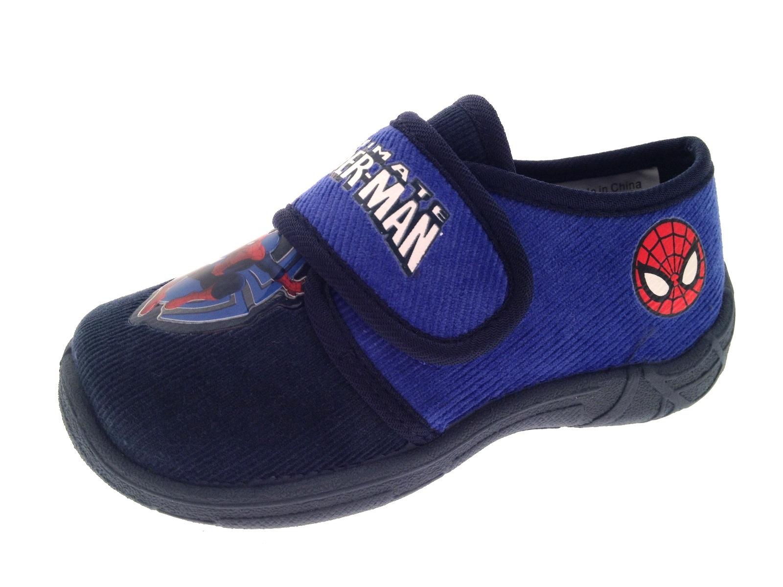 MARVEL ULTIMATE SPIDERMAN Pantofole Kids Bambini Ragazzi Scarpe Velcro Taglia UK 6,3