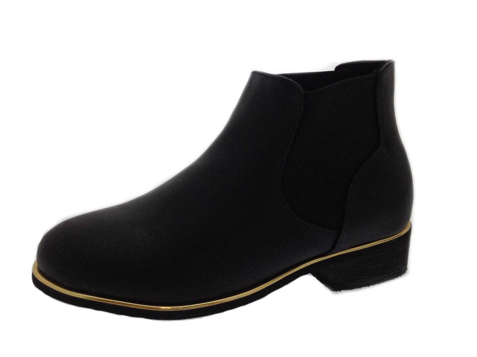 Chicas plana Chelsea Botas al Tobillo Zapatos De Moda Niños Adorno de oro metálico Size UK 9