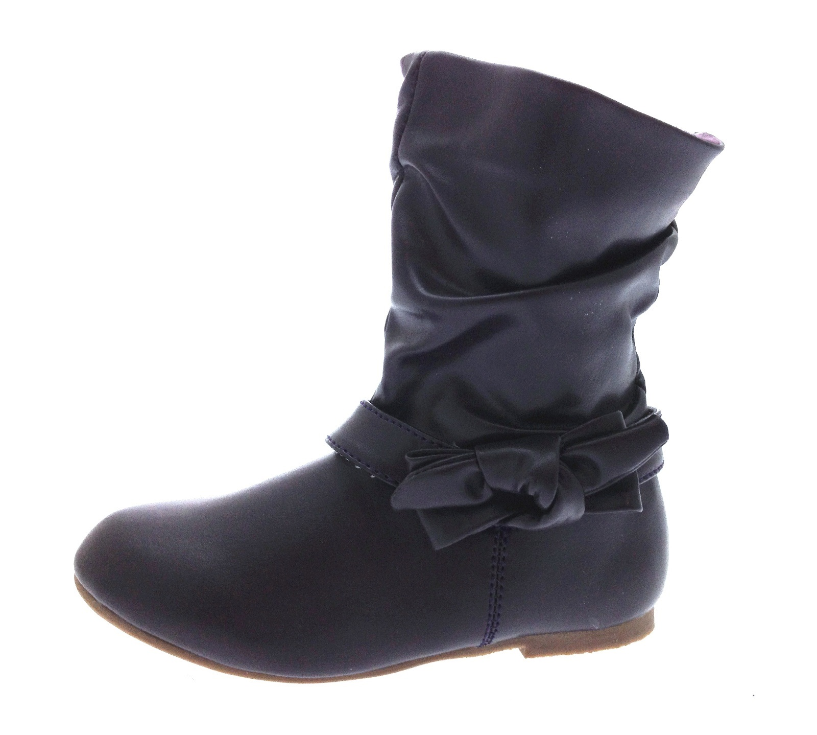 Kids Girls Mid Calf Boots Warm Winter Slouch Faux Leather School ...