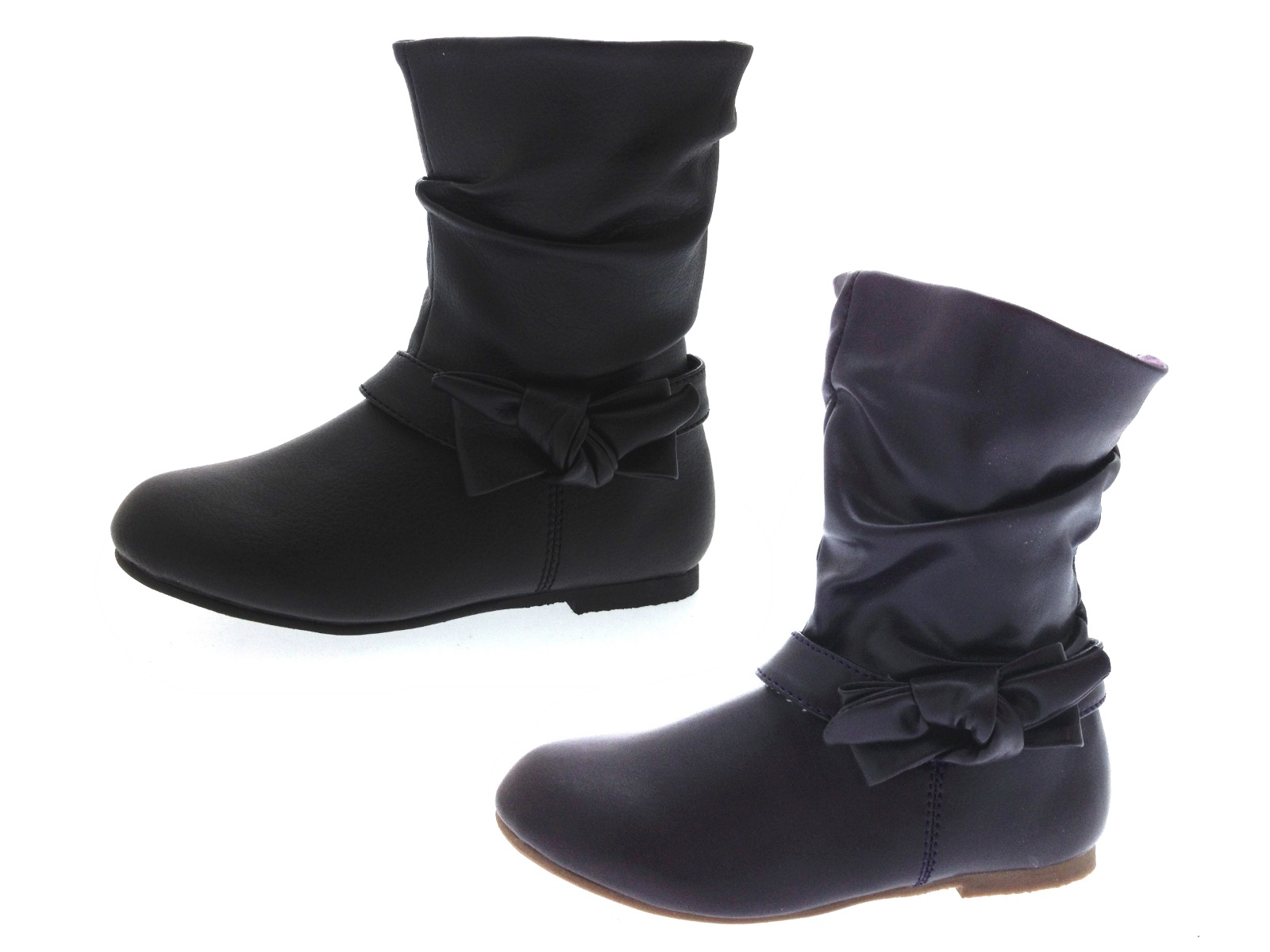 Kids Girls Mid Calf Boots Warm Winter Slouch Faux Leather School Shoes Size  6-12 8487c6b8ac58