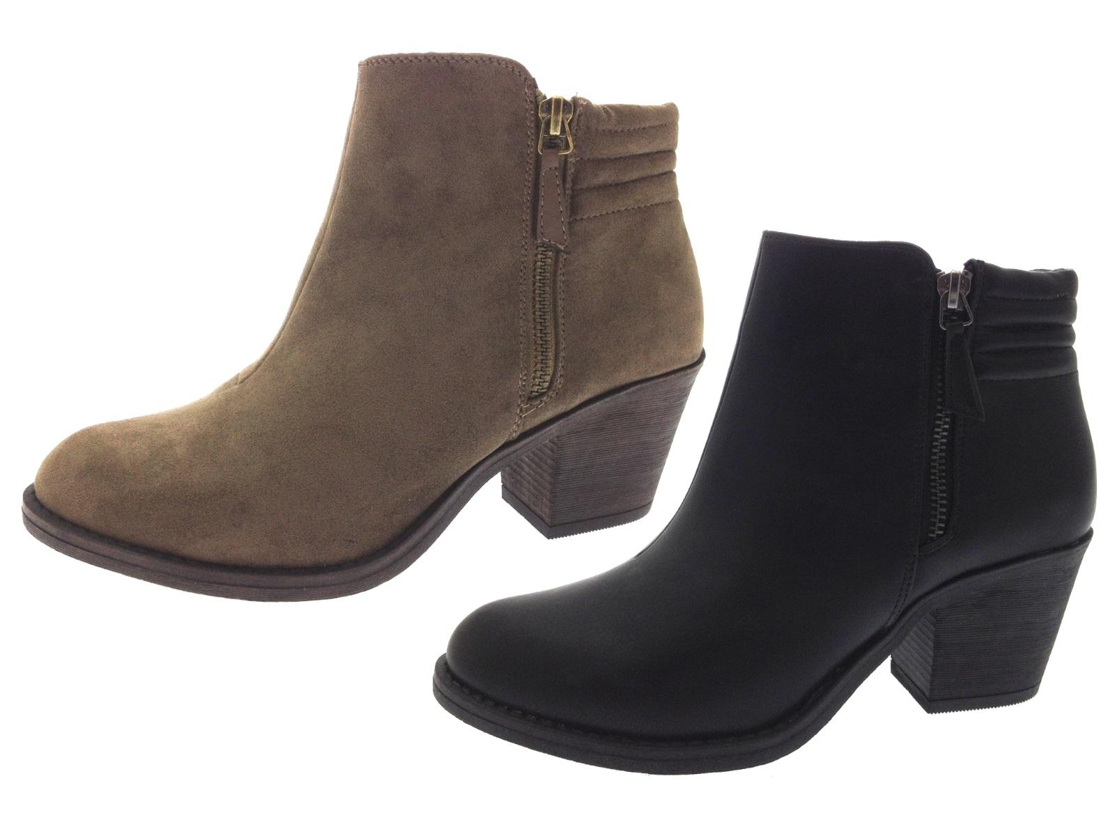 Womens Chelsea Biker Ankle Boots Block Heels Faux Leather ...