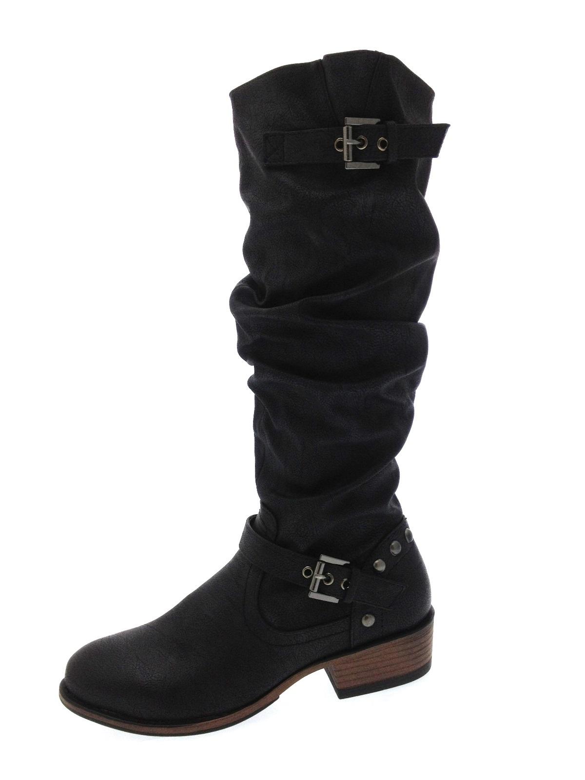 womens knee high biker slouch boots studs straps