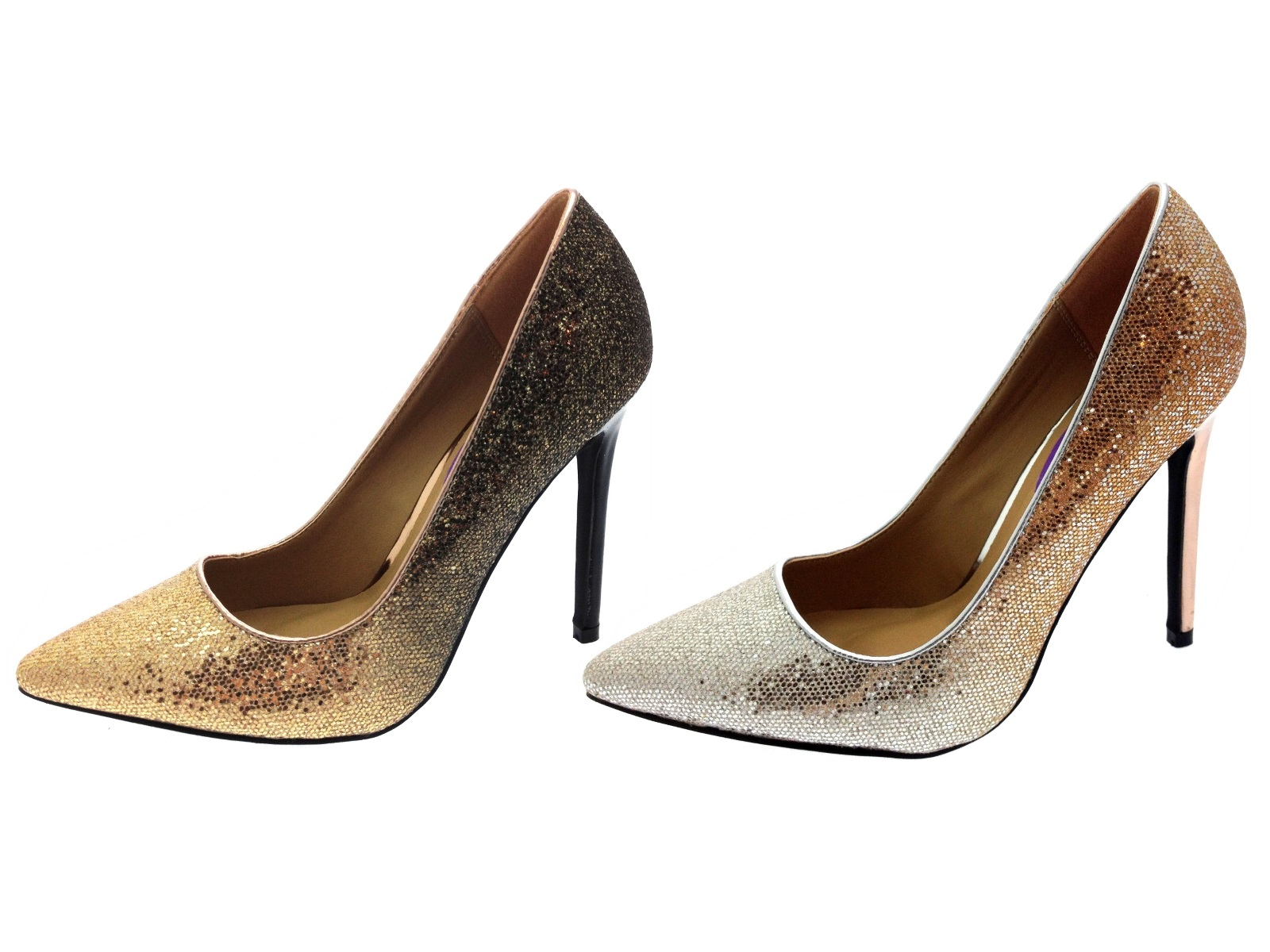 womens glitter high heels two tone stiletto court shoes