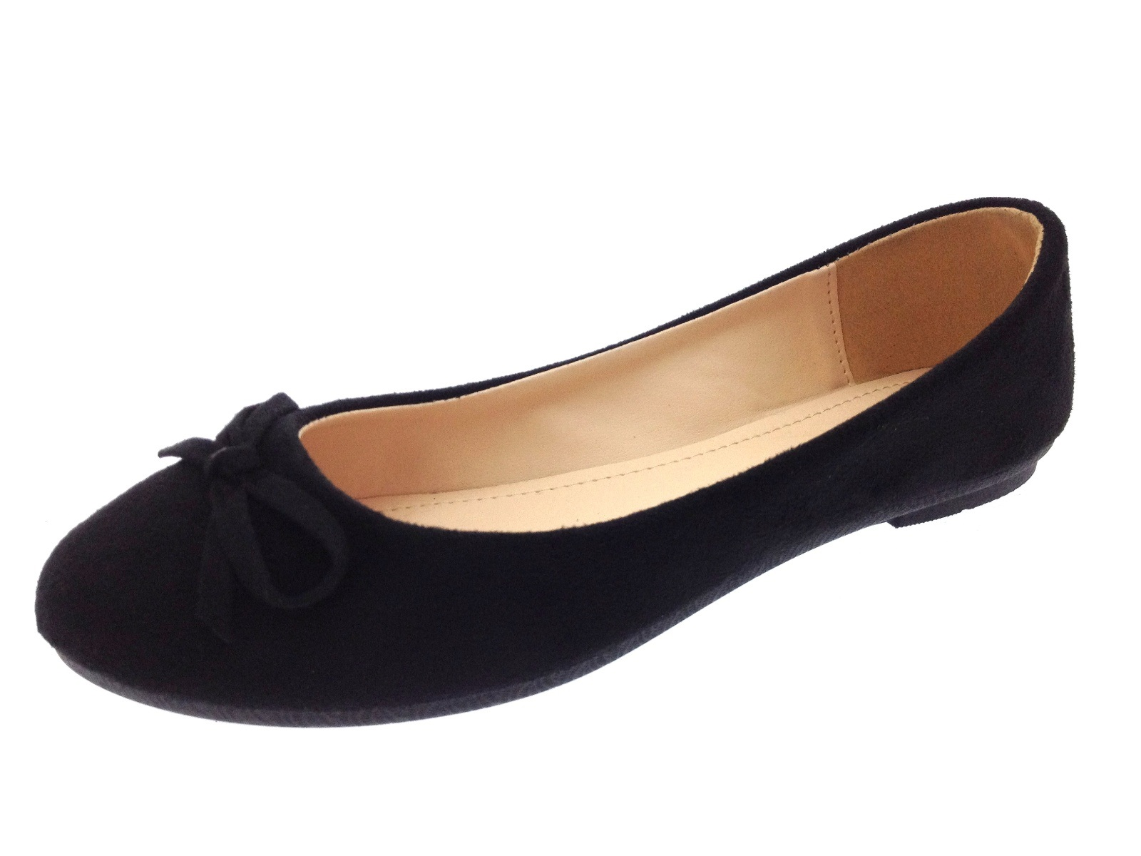 Womens Faux Suede Dolly Ballet Pumps Flat Casual Loafers ...