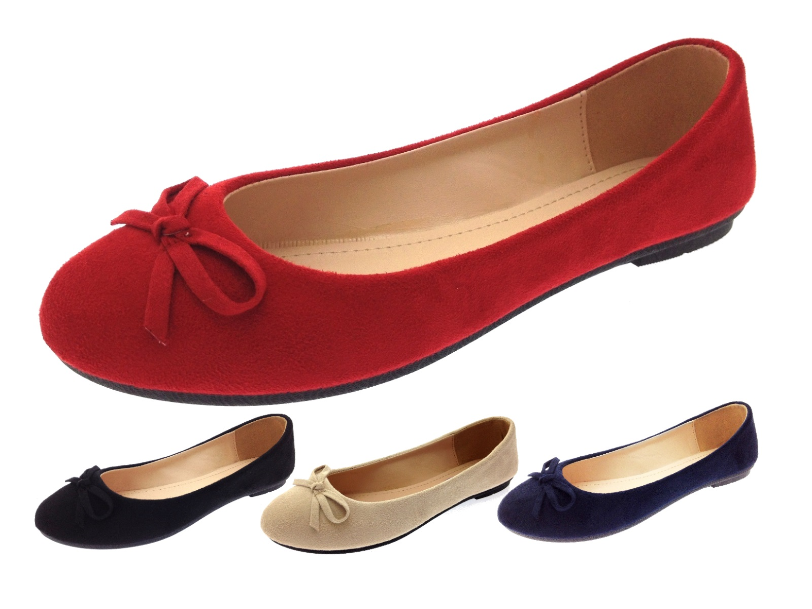 womens faux suede dolly ballet pumps flat casual loafers