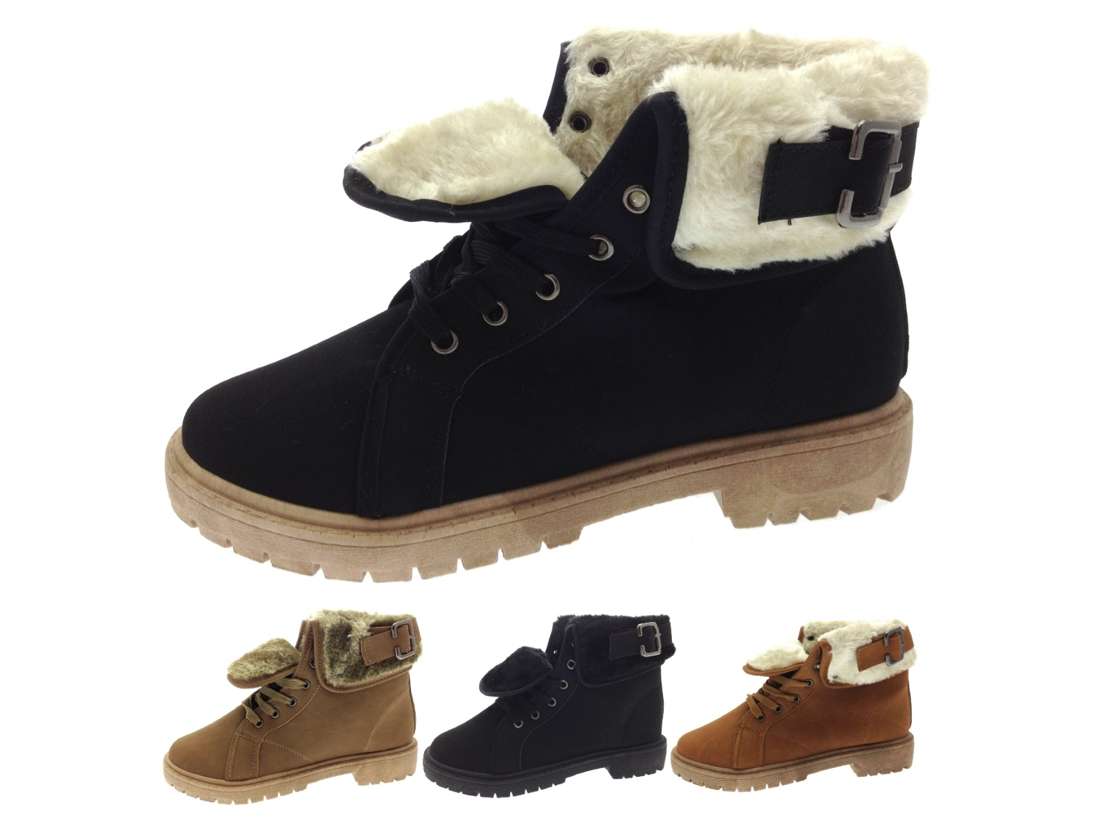 Womens Faux Fur Lined Ankle Boots Winter Worker Combat Military ...