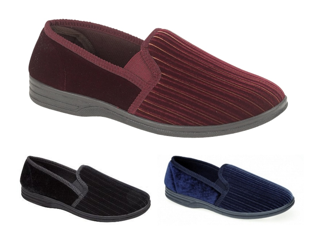 mens luxury velour slippers wide fit soft comfort shoes