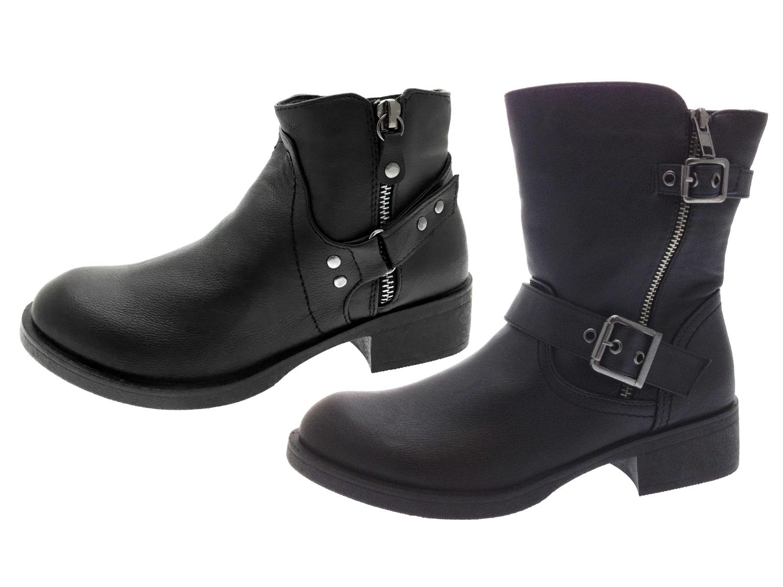 Elegant WOMENS BLACK FAUX LEATHER LADIES STUDDED SLOUCHY BIKER BOOTS SHOES SIZE 3-8 UK | EBay