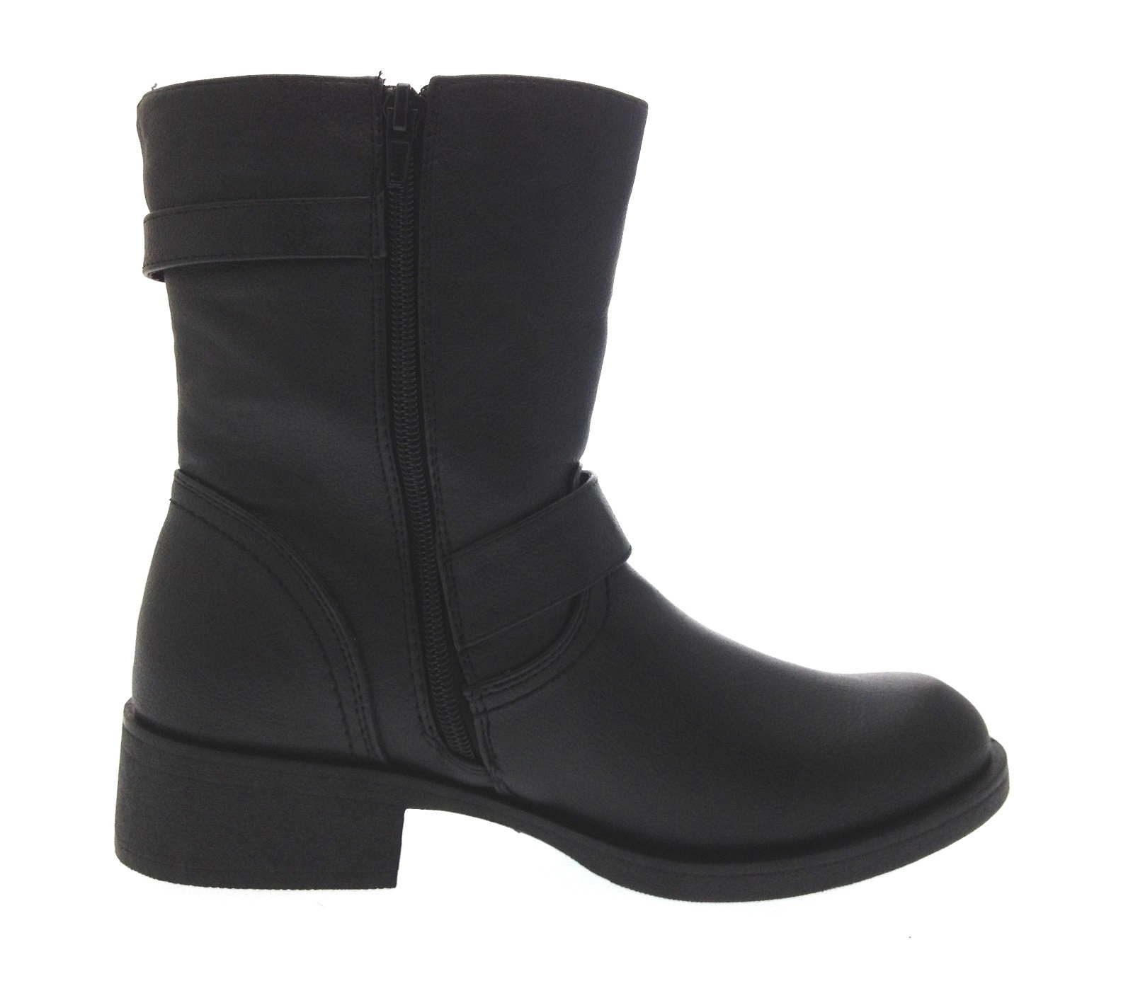 Womens Biker Boots Mid Calf / Ankle Buckle Warm Winter