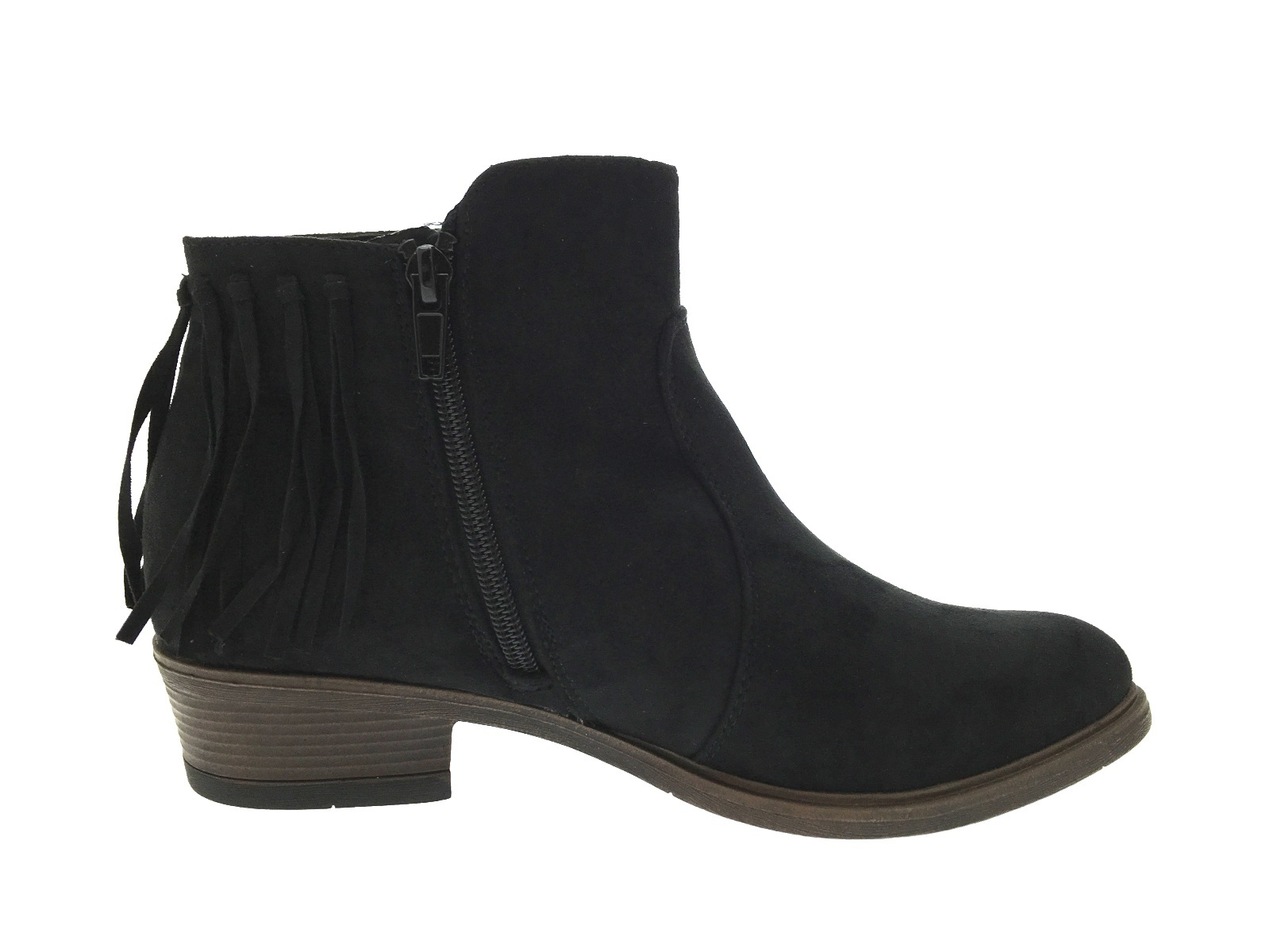 womens tassel ankle boots chunky low block heel faux suede