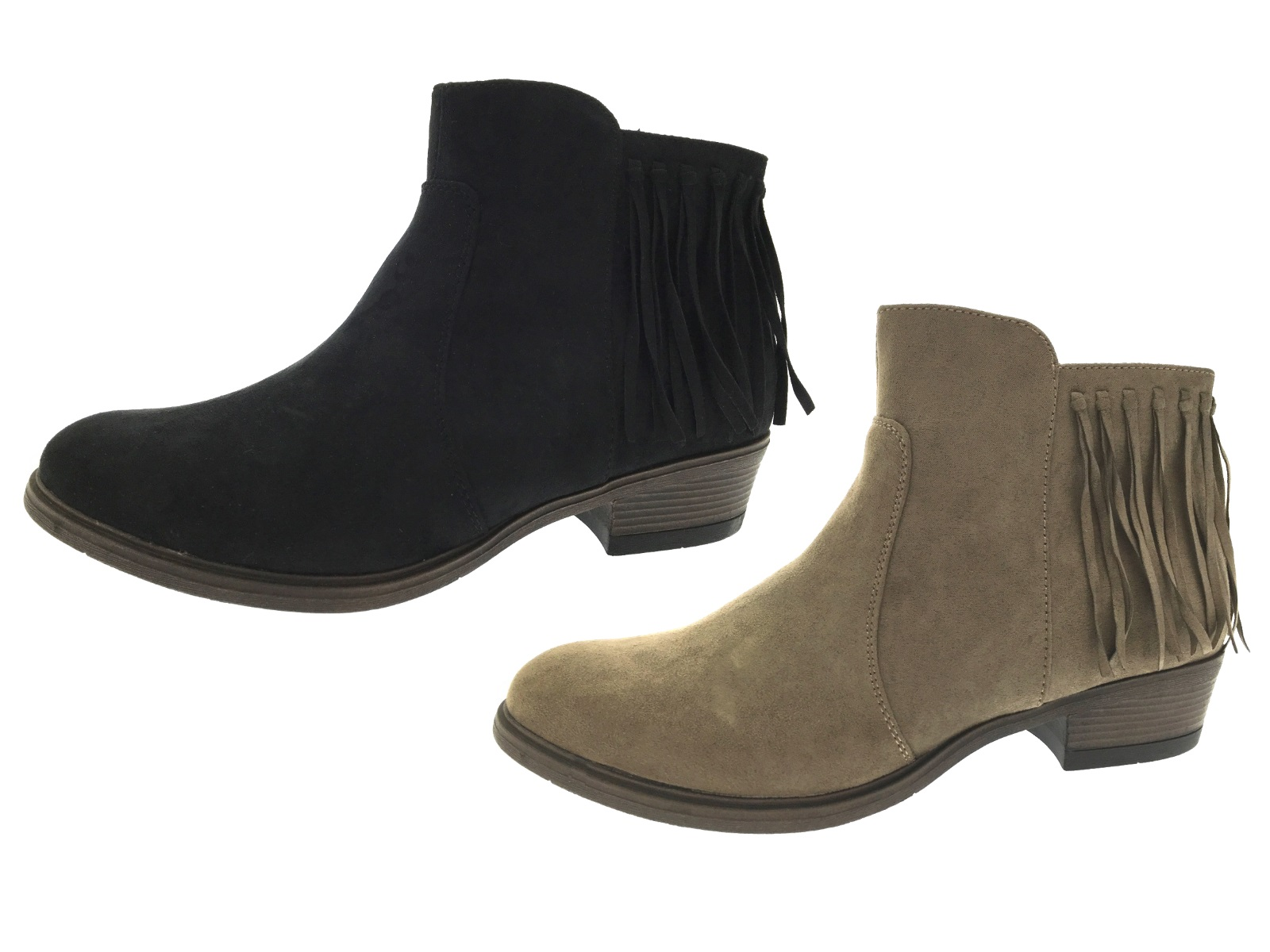 Beautiful Shoes Refresh FG21 Women Faux Suede Round Toe Chunky Heel Ankle Boot