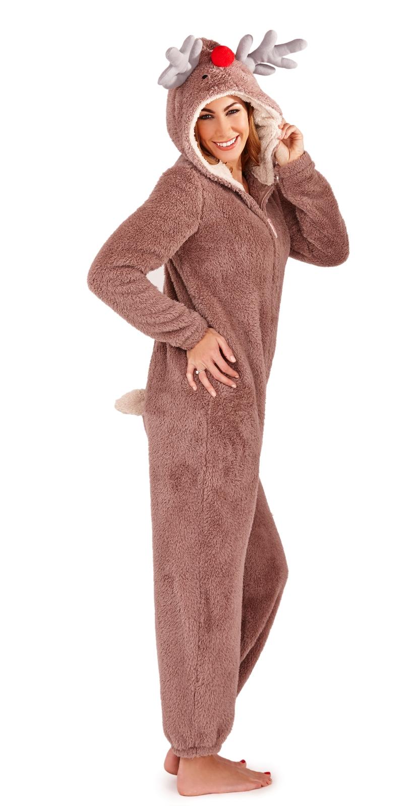Womens Hooded Animal Ears Onezee Jumpsuits Pyjamas Ladies Girls Size