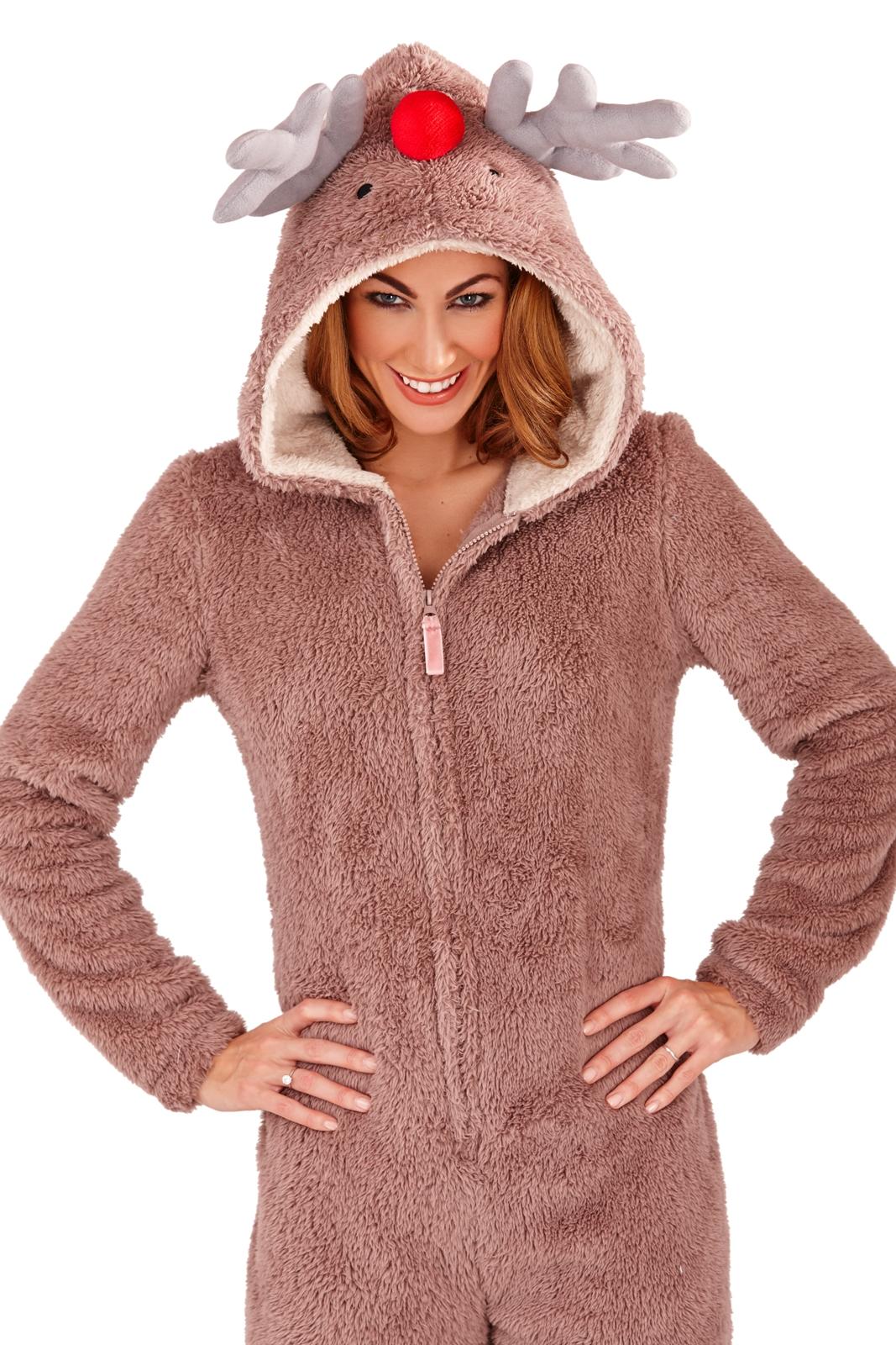 Womens Hooded Ears Onesies Pug Cat Dog Onesie Pyjamas